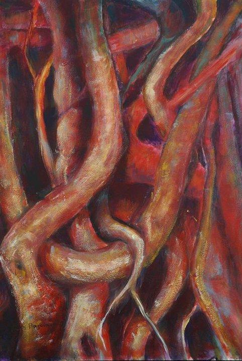Ακρυλικό σε χαρτόνι Ειρήνης Βαζούκου ΄΄Ρίζες΄΄ (9)